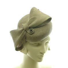 Straw Pillbox Hat for Women - Cocktail Hat - Handmade Fashion Hat - Taupe Straw Hat - Big Bow