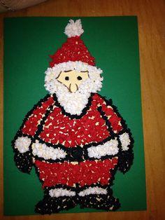 Selfmade Weihnachtskarte (durchgeführt in einer zweiten Klasse)... Verschiedene Formen möglich (Schneemann, Nikolaus...) ausgefüllt wird die vorgezeichnete Figur mit gekugelten Krepppapier :)