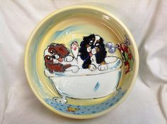 Hand Painted Dog Bowl / Whimsical Dog / Ceramic Dog Pottery / King Charles Cavalier / Bath Time / Debby Carman / Faux Paw Productions by FauxPawProductions on Etsy