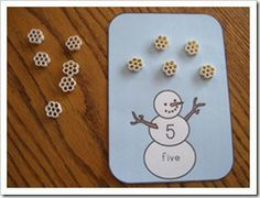 snowman cards - use pasta noodles and have them count out snowflakes