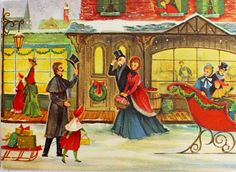 1960's Victorian Town People Shopping Saying Hello Sleigh Vintage Christmas Card