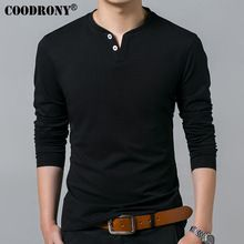 Coodrony T-shirt Men 2018 Spring Autumn New Long Sleeve Henry Collar T Shirt Men Brand Soft Pure Cotton Slim Fit Tee Shirts 7625 Super Moda, Style Masculin, Branded T Shirts, Long Sleeve Shirts, Tee Shirts, Men Casual, Casual Wear, Menswear, Mens Fashion