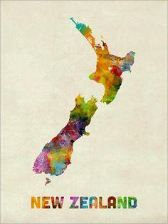 Trademark Fine Art New Zealand Watercolor Map Canvas Art by Michael Tompsett, Size: 24 x Multicolor Thai Tattoo, Irezumi Tattoos, Map Canvas, Canvas Prints, Art Prints, Canvas Artwork, Watercolor Map, Watercolor Design, Map Wall Art