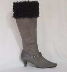 Dressy gray suede boots with fun curly fake fur boot cuffs in black. (The boot cuffs are also available in brown, red, and winter white)