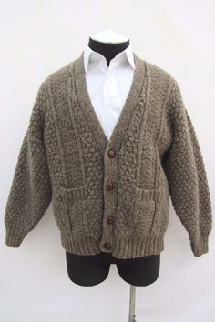 ~SOLD~ Donegal II Irish Vintage Cable Knit Fisherman's Wool Cardigan Sweater, SZ L #DonegalII #Cardigan