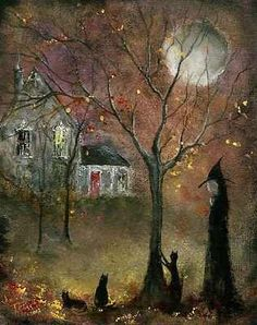 loving this muted witch and her black cats painting. ..I would hang this in my house