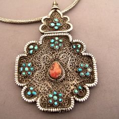 ➳➳➳☮ American Hippie Bohemian Boho Style ~ Jewelry .. Silver Tibet coral and turquoise pendant