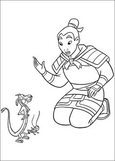 Mulan Fargelegging for barn. Tegninger for utskrift og fargelegging nº 1