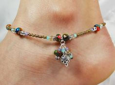 Anklet, Ankle Bracelet, Triple Dangles, Multi Color Semi Precious Jasper, Brass Seed Beads, Beaded, Customizable, Boho, Beach, Vacation