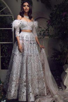 Light Blue Lehenga with Embellished Long Sleeve Blouse – Studio Indian Bridal Outfits, Indian Designer Outfits, Indian Dresses, Bridal Dresses, Designer Dresses, Lehenga Designs, Lehnga Dress, Indian Blouse, Indian Attire