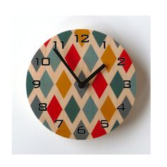 Items similar to Objectify Harlequin Wall Clock With Numerals - Medium Size on Etsy Wall Clock Wooden, Diy Wood Wall, Wall Clocks, Wall Clock Design, Map Design, Clock Painting, Wall Watch, Diy Candle Wick, Solid Wood Shelves