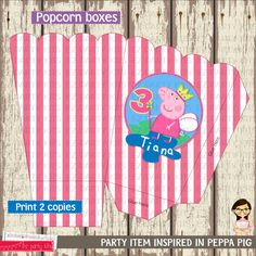 Popcorn Box - Peppa Pig PARTY KIT - Birthday Peppa Pig-   Printable by EZ Party Kits on Etsy, $5.00