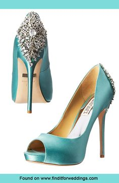Turquoise blue wedding Badgley Mishcka wedding shoes with jewelled heel. For more wedding inspiration visit www.finditforweddings.com Evening shoes
