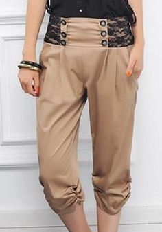 Korean Lace Fashion Ladies Pants    Color: Black/Khaki   Size: XL/XXL/XXXL