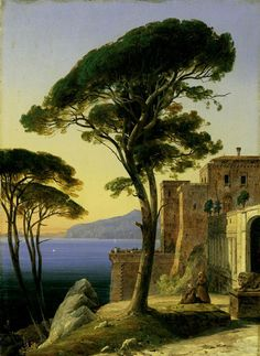 August Ahlborn - - Monastery on the Gulf of Naples near Sorrento. Oil on canvas. Mountain Landscape, Landscape Art, Landscape Paintings, Landscapes, World Famous Paintings, Landscape Pencil Drawings, Hudson River School, Oil Painting Pictures, Valley Of The Kings