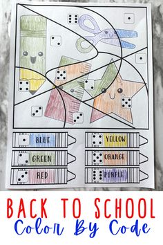 This Back To School Color by Number activity is a perfect way to help children get through the new changes in an engaging way! Thesefirst day of school coloring pages help toddler, preschool, pre-k, and kindergarten age children work on number recognition of numbers 1-6. Simply print back to school worksheets for preschoolers and you are ready to play and learn!