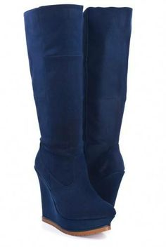 #Very Cute, Navy Wedge Boots $38.99