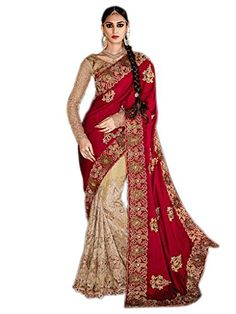 Shoppingover Bollywood Saree with Blouse in Silk & Net Fa…
