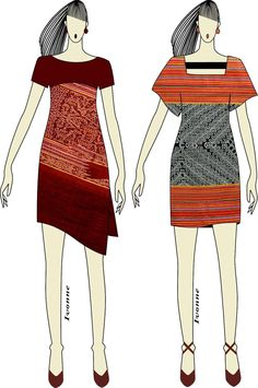 Ikat weaving dress Batik Kebaya, Kebaya Dress, Batik Dress, Short Fitted Dress, Tribal Skirts, Dress Illustration, Dress Sketches, Ankara Dress, Western Dresses