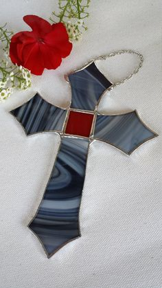 black white swirled stained glass cross suncatcher ornament by Glassy Eyed Gals on Etsy https://www.etsy.com/listing/253742045/stained-glass-cross-in-black-and-white