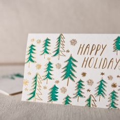 Trees letterpress and foil cards
