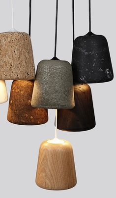 Lampshades from Nevvork. Designed by Noergaard & Kechayas. Material: cork, marble, concrete, terra-cotta and wood.