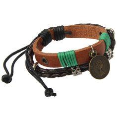 [$1.77] Fashionable Leatherette Wristlet Wrist Band Bracelet Brace Lace for Women Ladies(Brown)