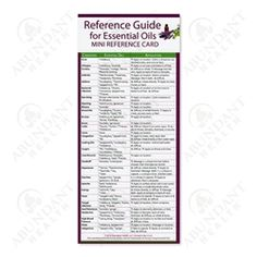 Reference Guide for Essential Oils ~ Mini Reference Chart