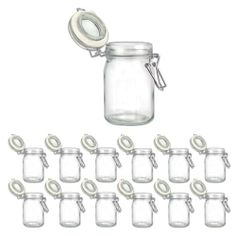 "Set of 12 Clear Glass Storage Jars Set Air-Tight Seal - 200ML by Handy Kitchen. $16.95. Set of 12 heavy duty glass jars with clamp lids for spices, jams, jelly, and more. Real glass doesn't absorb odors, preserves freshness, flavor & aroma. Wire-basket with rubber gasket seal lids airtight; steel wire with nickel plating. -200ml (6.76 fl oz) capacity, 4-3/4""H x 2-1/2"" dia; dishwasher safe -Excellent quality- similar sets sell in major retail chains for over $30!"