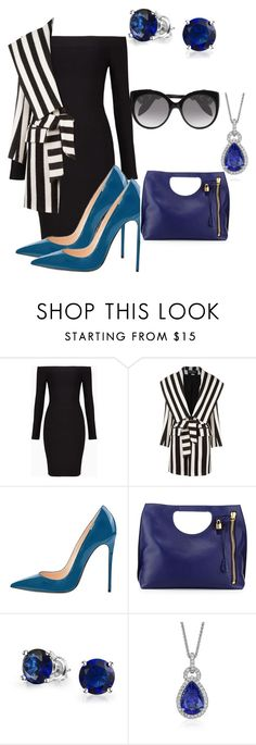 """Blue"" by cmoligar on Polyvore featuring BCBGMAXAZRIA, Balmain, Bling Jewelry, Blue Nile and Alexander McQueen"