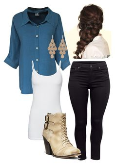 """""""Chambray and Skinnies"""" by melanien617 on Polyvore featuring Disney, H&M, Splendid, Steve Madden and Irene Neuwirth"""