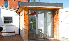 Example of wide glazed door for end of kitchen Garage Conversions, Building Systems, House Extensions, Interior Ideas, Dreaming Of You, Budgeting, Living Spaces, Shed, Homes