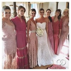 Surrounded by pretty in pink is a stunning @matthewbridal bride with her besties. Photo via @larobe_bridal! This is designer Matthew Christopher's Sofia gown. #MarriedinMatthew #MatthewChristopher #bridal# #prettyinpink #pinkbridesmaids #mixandmatch #br