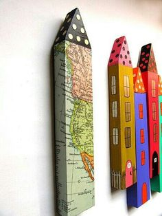 Original Mixed Media - handmade house cool funky contemporary wall art from old floorboard and decoupage or paint , long houses Home Crafts, Diy And Crafts, Arts And Crafts, Paper Crafts, Handmade Home, Handmade Gifts, Oyin Handmade, Handmade Knives, Handmade Headbands