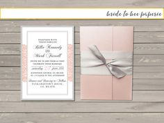 Blush Pink Pocket Fold lace Wedding by bridetobeepaperie on Etsy