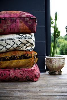 Floor Cushions made from vintage moroccan rug Moroccan Floor Cushions, Large Floor Cushions, Outdoor Floor Cushions, Kilim Cushions, Moroccan Decor, Moroccan Rugs, Moroccan Style, Boho Home, Home Design
