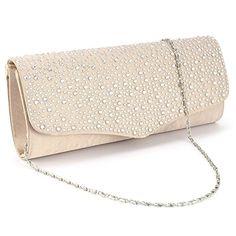 Diamant Handtasche Diamant Clutch Bag Diamant Abendtasche Umhaengetasche Champagne