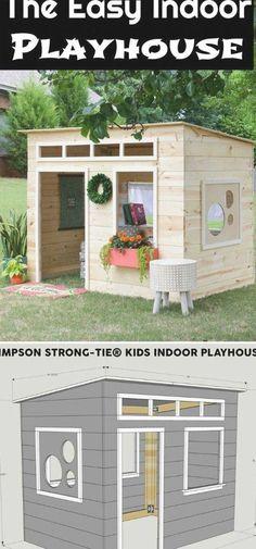Kids Indoor Playhouse, Kids Outdoor Play, Backyard Playhouse, Build A Playhouse, Backyard Playground, Playhouse Ideas, Backyard For Kids, Diy For Kids, Diy Easy Playhouse