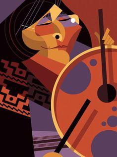 Mercedes Sosa by Pablo Lobato Funky Art, Retro Art, Art Pop, Illustrator Tutorials, Adobe Illustrator, Mercedes Sosa, Rock Argentino, Design Theory, Art Desk