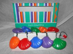 VINTAGE SET OF 10 SEASHELL BLOW MOLD STRING LIGHTS - NEW IN BOX BY SUN COUNTRY #SUNCOUNTRY