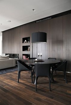 Living Room:Wooden Accent For Decor In Modern Spacious Room With Stylish Dining Table And Chairs Also Pendant Lamp Elegant Ideas for Your Da...