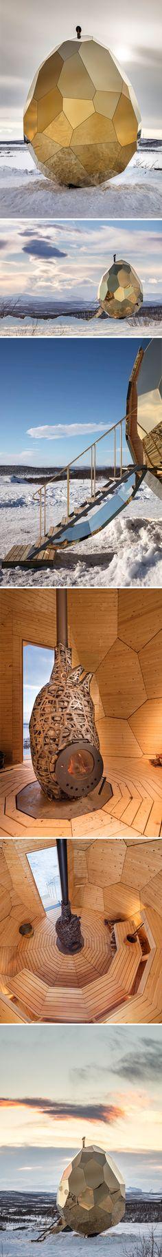golden, solar, egg-shaped sauna in sweden by bigert & bergstrom