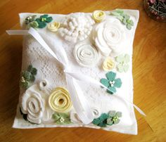 Lace and Flowers: White, Cream, Ivory, Emerald Green, Shamrock Roses in Wool Felt and beads.