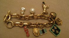 Enamel Faux Pearl Rhinestones Gold Tone Charms Flags, Heart Dog Shoe Bracelet…