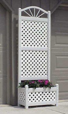 Dura-Trel 78 in. H x 28 in. W White Vinyl PVC Sunburst Trellis Planter, Whites - Modern Arch Trellis, Wall Trellis, Trellis Panels, Garden Trellis, Trellis Ideas, Planter Box With Trellis, Planter Boxes, Cheap Pergola, Pergola Kits