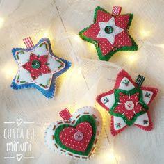 Ornamente de Crăciun din fetru/ Felt embroidery Christmas star Felt Christmas Ornaments, Album, Holiday Decor, Home Decor, Felt Christmas, Decoration Home, Room Decor, Home Interior Design, Home Decoration