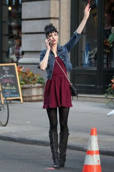 Actress Krysten Ritter was seen filming scenes for an upcoming episode of her hit ABC series Don't Trust the Bitch in Apartment 23 in NYC yesterday afternoon. The actress had multiple wardrobe changes while filming. One of those looks included a sweet burgundy dress topped with a Current/Elliott The Snap Jacket. FacebookTwitterGoogle+PinterestTumblrLinkedIn