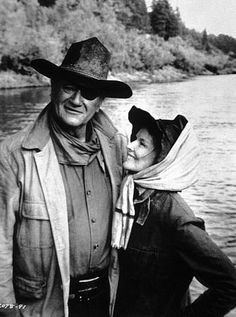 Two of my favorite actors, both inspiring in so many aspects: John Wayne and Katharine Hepburn in Rooster Cogburn, 1975