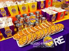 sweet snack table basketball lakers Basketball Wedding, Basketball Baby Shower, Basketball Birthday Parties, 6th Birthday Parties, Baby Boy 1st Birthday Party, August Birthday, 16th Birthday, Boy Baby Shower Themes, Baby Shower Decorations
