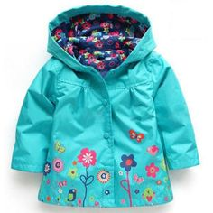 Cute Flower Hooded Waterproof Jacket